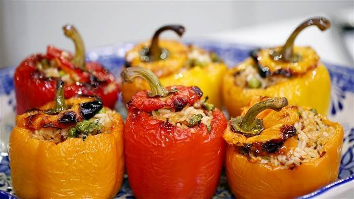 Рецепт перца фаршированного овощами и рисом