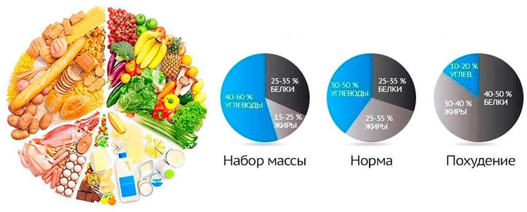 Усредненная формула соотношения белков, жиров и углеводов в дневном рационе