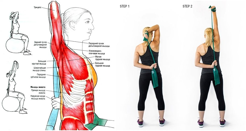 Разгибание руки на трицепс за головой с использованием фитнес-резинки