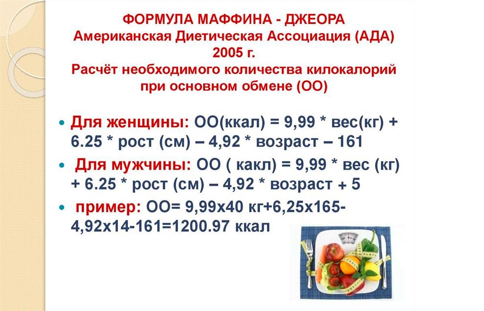 Формула расчета минимальной суточной нормы калорий