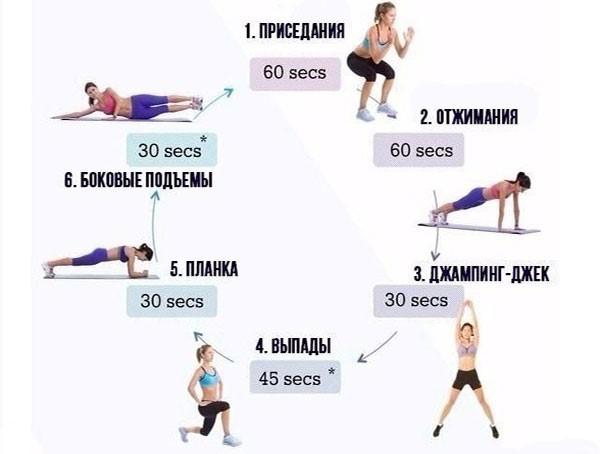 Пример круговой тренировки для дома